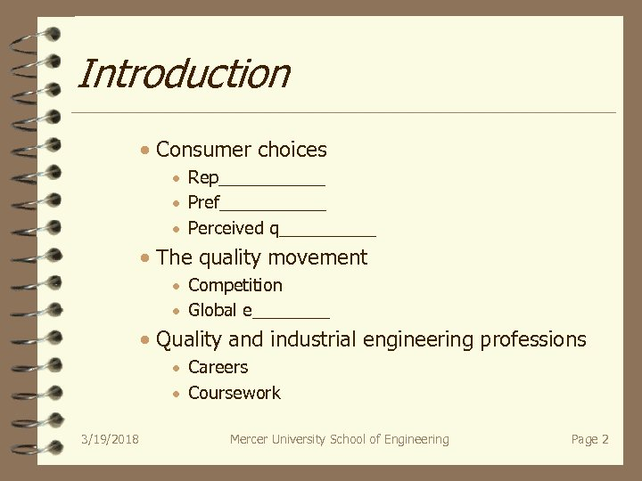 Introduction · Consumer choices · Rep______ · Pref______ · Perceived q_____ · The quality