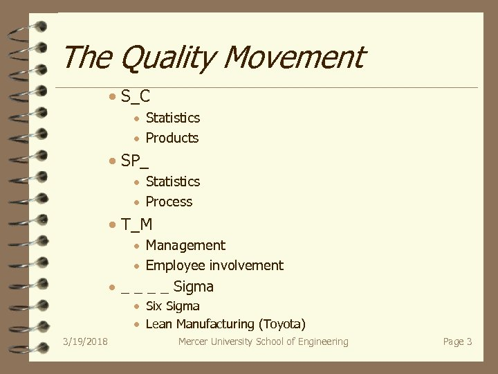 The Quality Movement · S_C · Statistics · Products · SP_ · Statistics ·