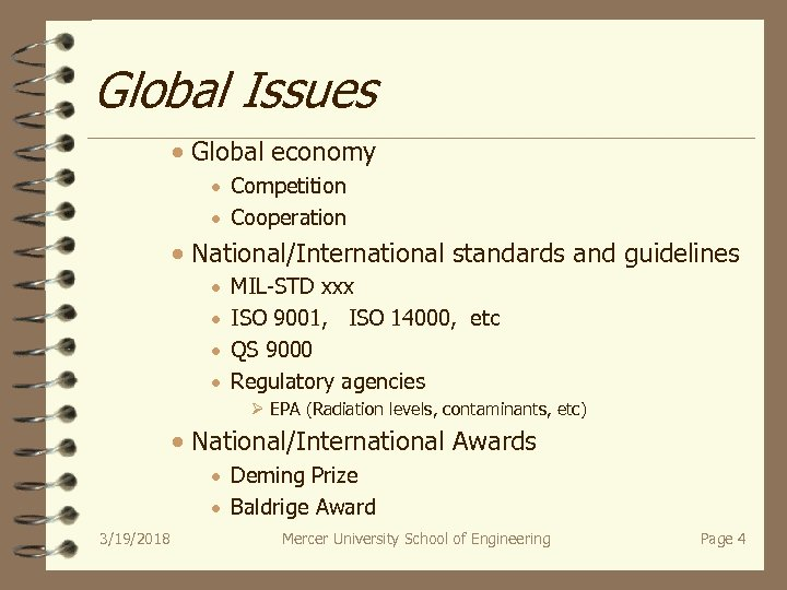 Global Issues · Global economy · Competition · Cooperation · National/International standards and guidelines