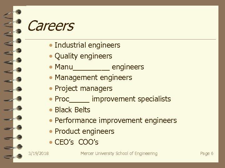 Careers · Industrial engineers · Quality engineers · Manu_____ engineers · Management engineers ·