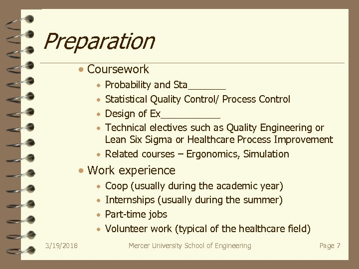Preparation · Coursework · · Probability and Sta_______ Statistical Quality Control/ Process Control Design