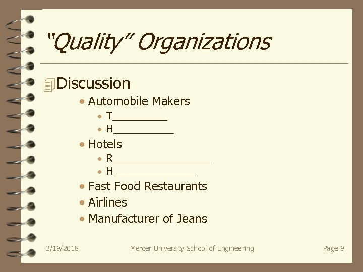 """Quality"" Organizations 4 Discussion · Automobile Makers · T_____ · H______ · Hotels ·"