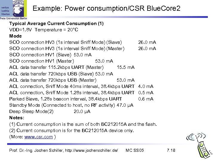 Example: Power consumption/CSR Blue. Core 2 Typical Average Current Consumption (1) VDD=1. 8 V