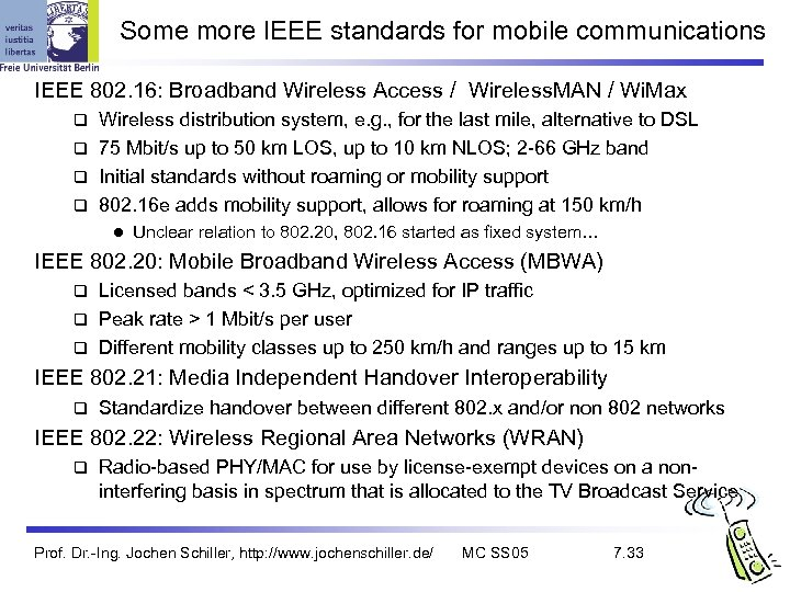 Some more IEEE standards for mobile communications IEEE 802. 16: Broadband Wireless Access /