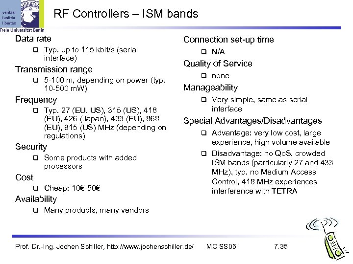 RF Controllers – ISM bands Data rate q Typ. up to 115 kbit/s (serial