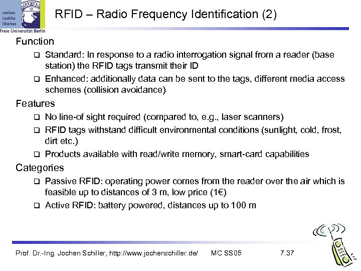 RFID – Radio Frequency Identification (2) Function Standard: In response to a radio interrogation