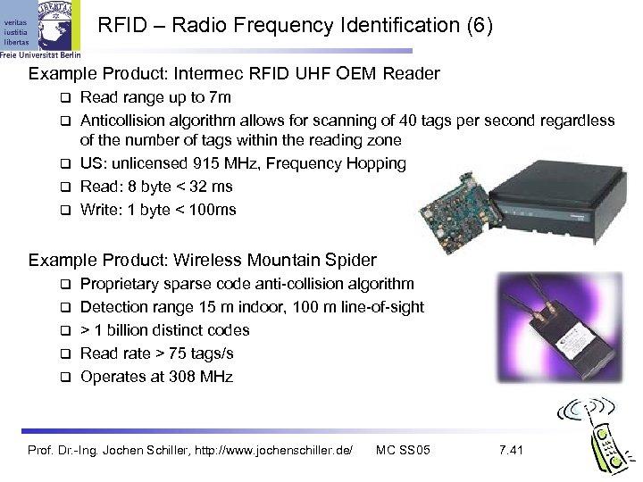 RFID – Radio Frequency Identification (6) Example Product: Intermec RFID UHF OEM Reader q