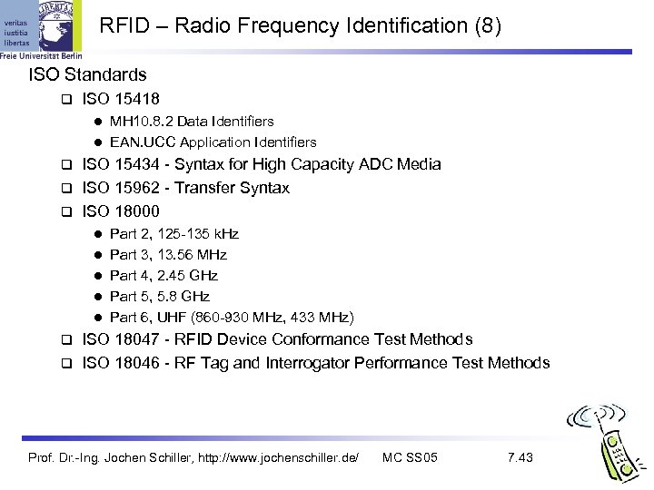 RFID – Radio Frequency Identification (8) ISO Standards q ISO 15418 MH 10. 8.