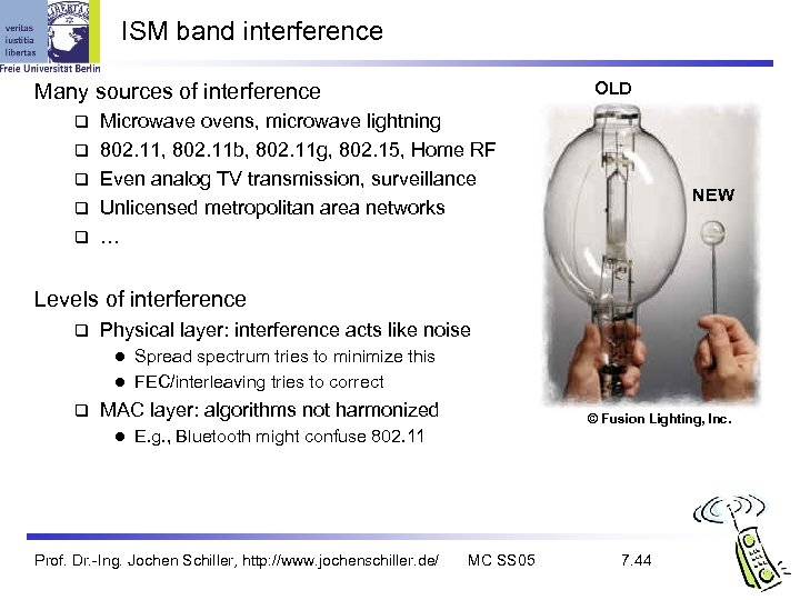 ISM band interference OLD Many sources of interference q q q Microwave ovens, microwave