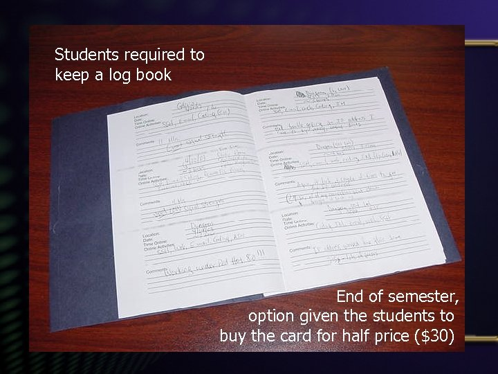 Students required to keep a log book End of semester, option given the students