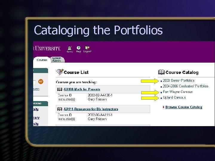 Cataloging the Portfolios