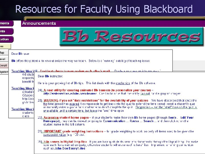 Resources for Faculty Using Blackboard