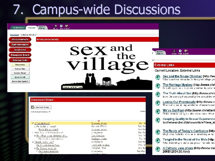 7. Campus-wide Discussions