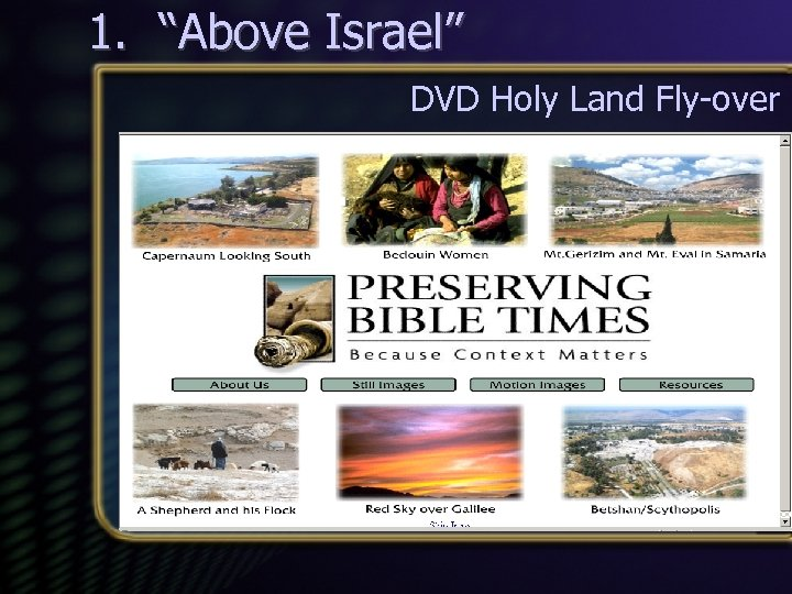 "1. ""Above Israel"" DVD Holy Land Fly-over"