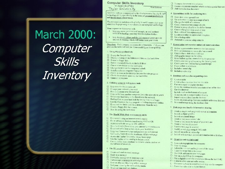 March 2000: Computer Skills Inventory