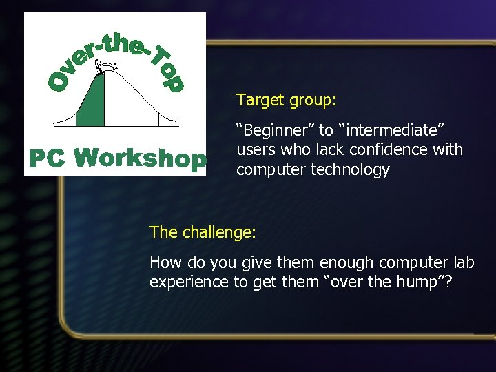 """Target group: """"Beginner"""" to """"intermediate"""" users who lack confidence with computer technology The challenge:"""