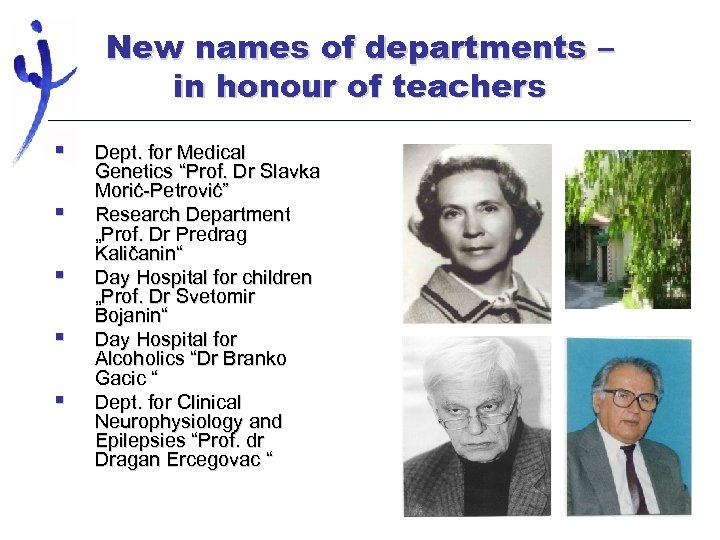 New names of departments – in honour of teachers § § § Dept. for