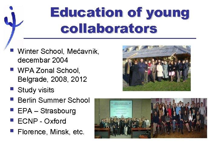 Education of young collaborators § § § § Winter School, Mećavnik, decembar 2004 WPA