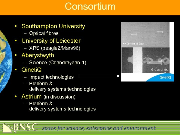 Consortium • Southampton University – Optical fibres • University of Leicester – XRS (beagle