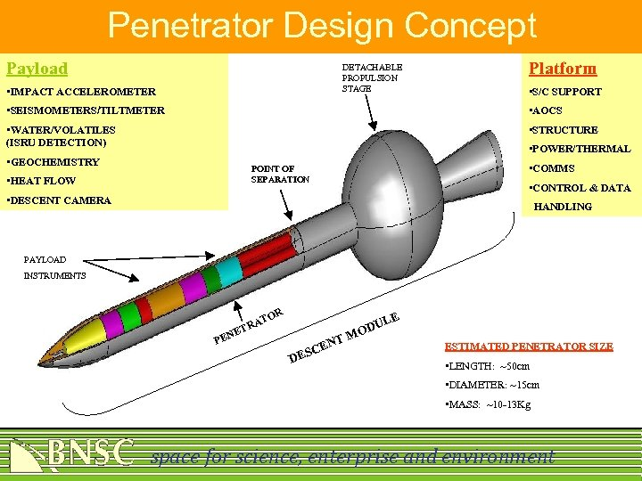 Penetrator Design Concept Payload DETACHABLE PROPULSION STAGE • IMPACT ACCELEROMETER Platform • S/C SUPPORT