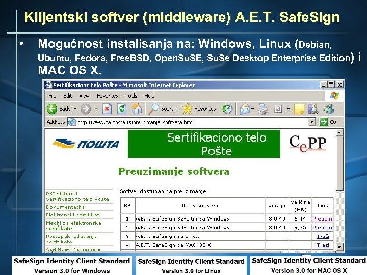 Klijentski softver (middleware) A. E. T. Safe. Sign • Mogućnost instalisanja na: Windows, Linux