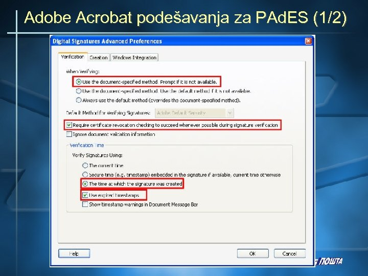Adobe Acrobat podešavanja za PAd. ES (1/2)
