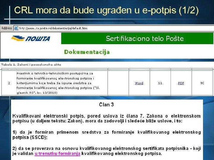 CRL mora da bude ugrađen u e-potpis (1/2)
