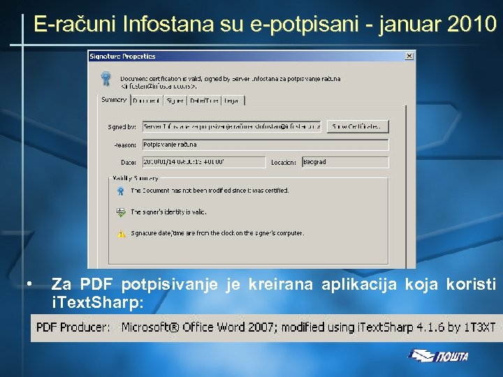 E-računi Infostana su e-potpisani - januar 2010 • Za PDF potpisivanje je kreirana aplikacija