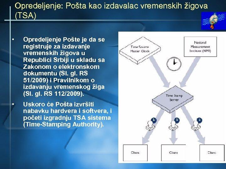 Opredeljenje: Pošta kao izdavalac vremenskih žigova (TSA) • Opredeljenje Pošte je da se registruje