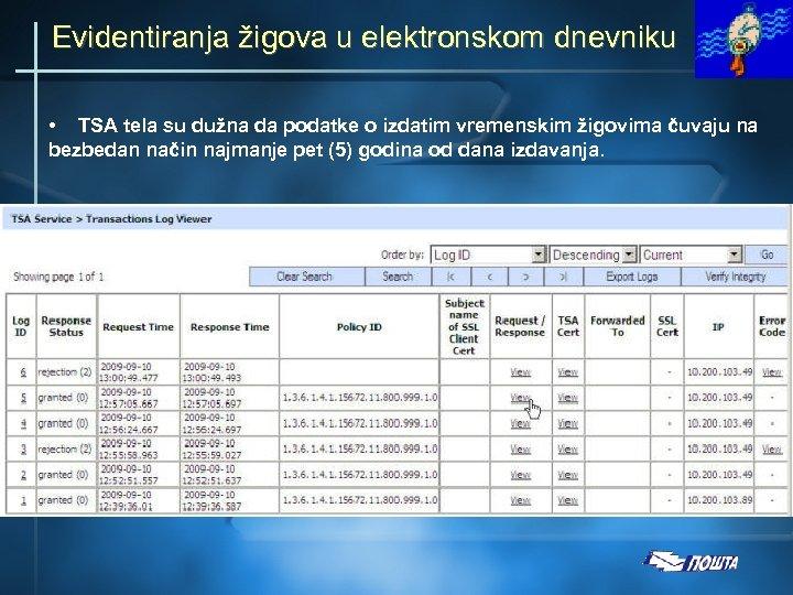 Evidentiranja žigova u elektronskom dnevniku • TSA tela su dužna da podatke o izdatim