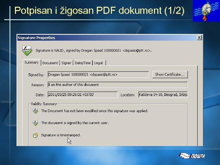 Potpisan i žigosan PDF dokument (1/2)