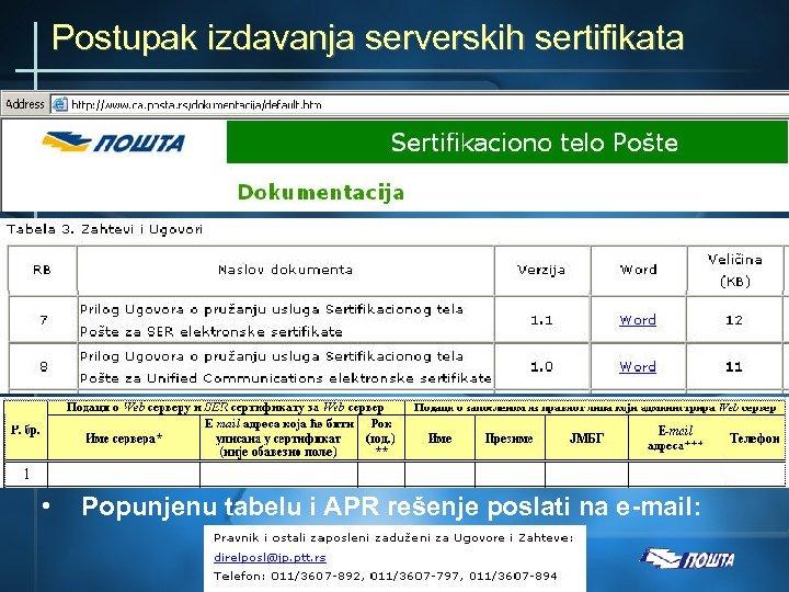 Postupak izdavanja serverskih sertifikata • Popunjenu tabelu i APR rešenje poslati na e-mail: