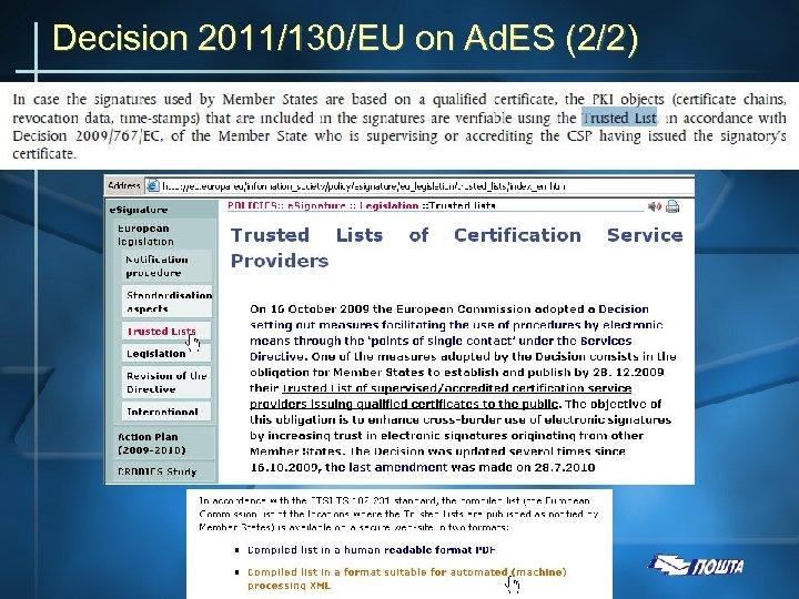 Decision 2011/130/EU on Ad. ES (2/2)