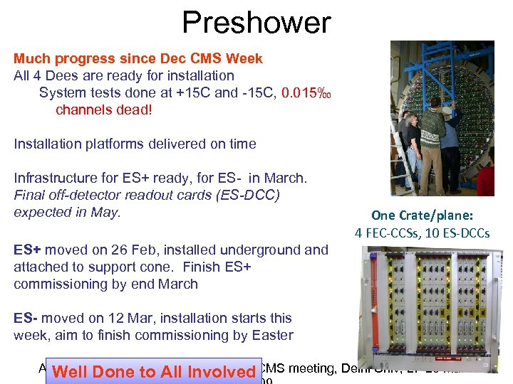 Preshower Much progress since Dec CMS Week All 4 Dees are ready for installation