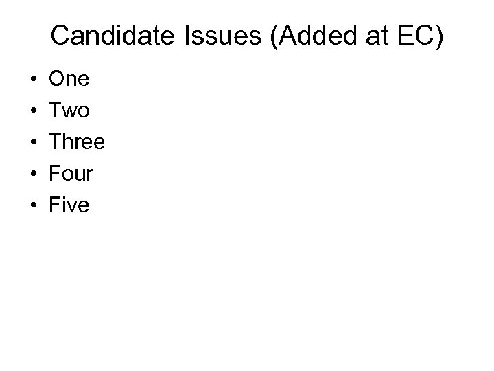 Candidate Issues (Added at EC) • • • One Two Three Four Five