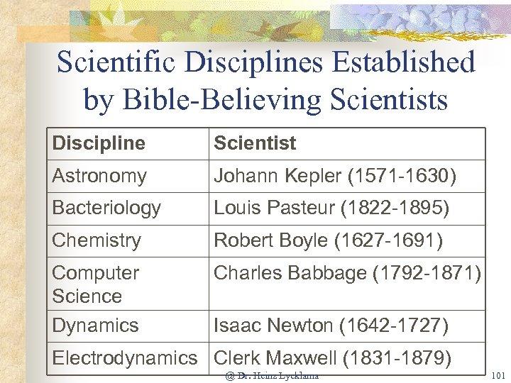 Scientific Disciplines Established by Bible-Believing Scientists Discipline Scientist Astronomy Johann Kepler (1571 -1630) Bacteriology