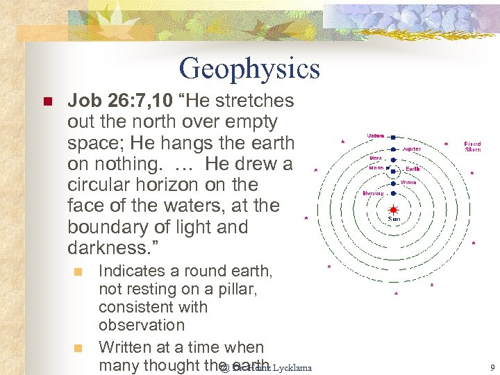 """Geophysics n Job 26: 7, 10 """"He stretches out the north over empty space;"""