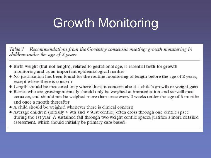 Growth Monitoring