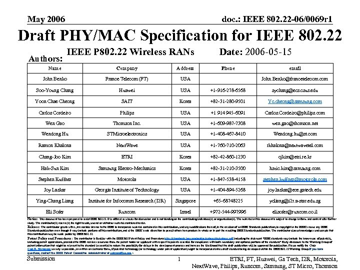 May 2006 doc. : IEEE 802. 22 -06/0069 r 1 Draft PHY/MAC Specification for