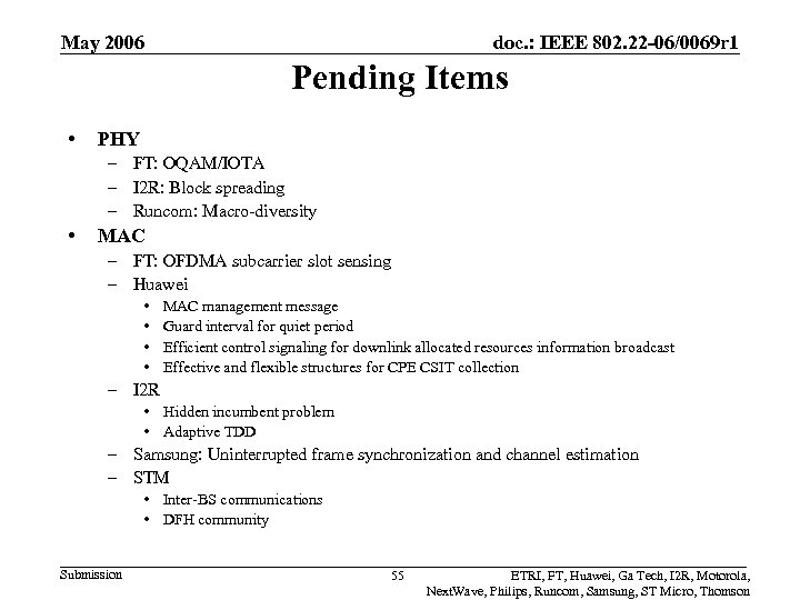 May 2006 doc. : IEEE 802. 22 -06/0069 r 1 Pending Items • PHY
