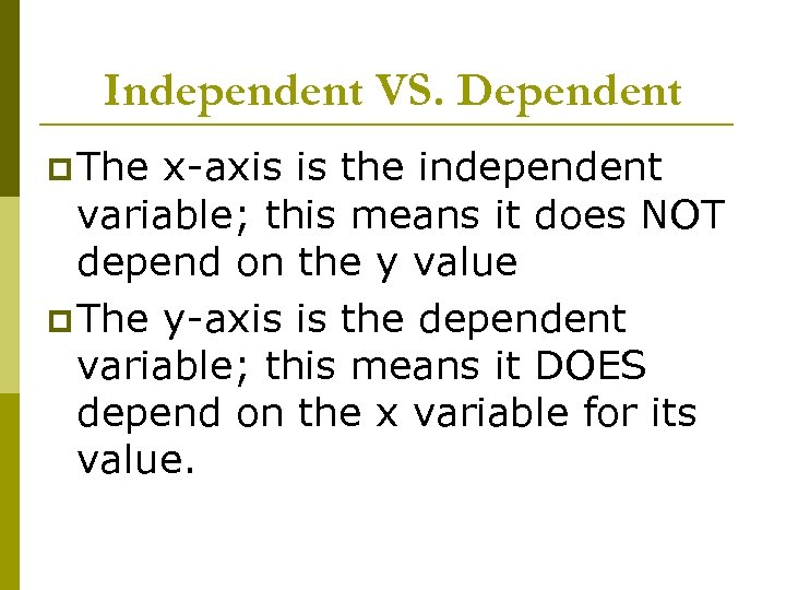 Independent VS. Dependent p The x-axis is the independent variable; this means it does