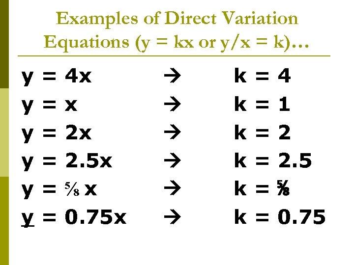 Examples of Direct Variation Equations (y = kx or y/x = k)… y y
