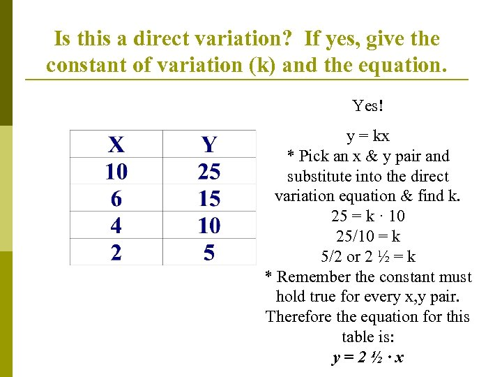 Is this a direct variation? If yes, give the constant of variation (k) and