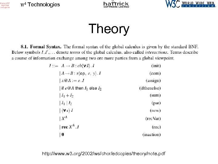 π4 Technologies Theory http: //www. w 3. org/2002/ws/chor/edcopies/theory/note. pdf