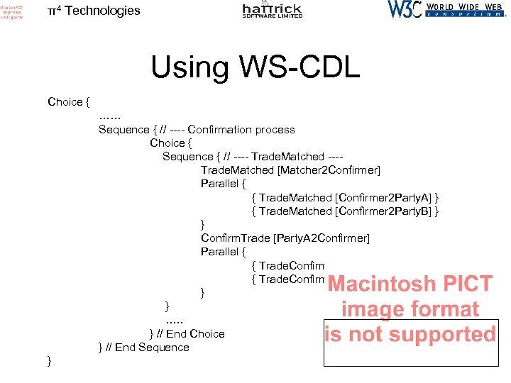 π4 Technologies Using WS-CDL Choice { …… Sequence { // ---- Confirmation process Choice