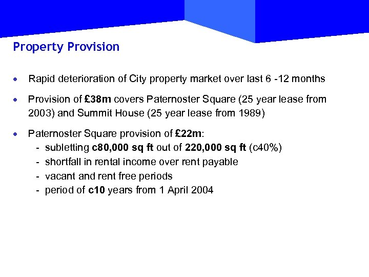 Property Provision · Rapid deterioration of City property market over last 6 -12 months