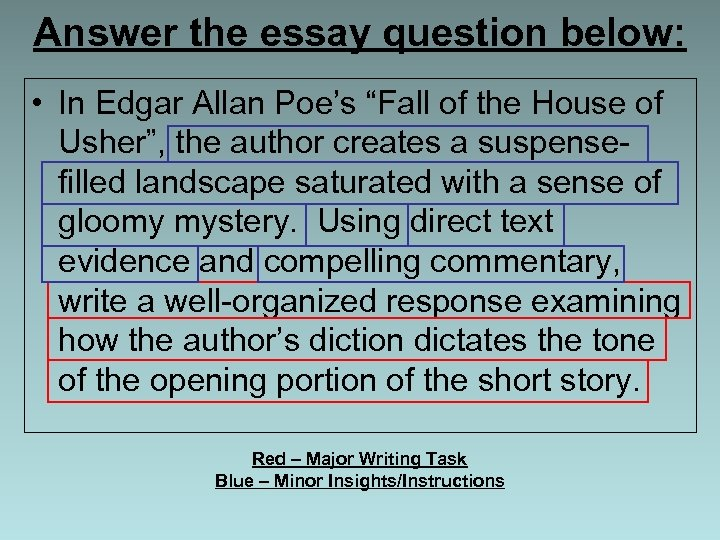 "Answer the essay question below: • In Edgar Allan Poe's ""Fall of the House"