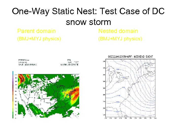 One-Way Static Nest: Test Case of DC snow storm Parent domain Nested domain (BMJ+MYJ