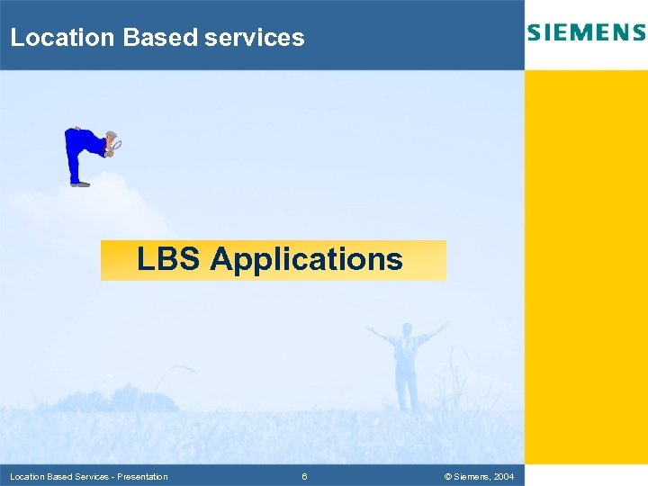 Location Based services LBS Applications Location Based Services - Presentation 6 © Siemens, 2004