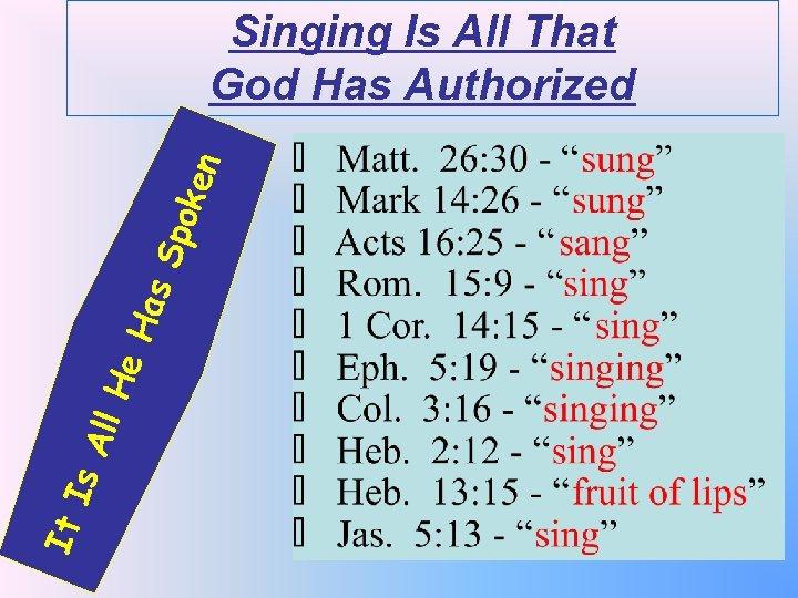It Is All He Has Spo k en Singing Is All That God Has